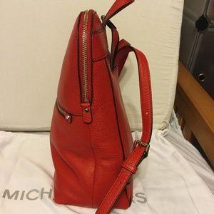 5533c18a8fcff2 Michael Kors Bags - MICHAEL KORS Rhea Zip Md Slim Backpack Leather Red